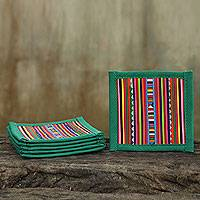 Cotton coasters, 'Lahu Jade' (set of 6) - Hand Made multicoloured Cotton Patchwork Coasters (Set of 6)