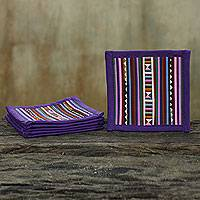 Cotton coasters, 'Lahu Purple' (set of 6)