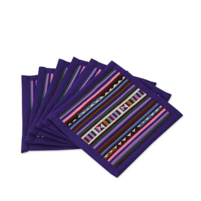 Cotton coasters, 'Lahu Purple' (set of 6) - Fair Trade Purple Cotton Patchwork Coasters (Set of 6)