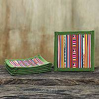 Cotton coasters, 'Lahu Olive' (set of 6) - Lahu Hill Tribe Green Patchwork Applique Coasters (Set of 6)