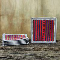 Cotton coasters, 'Lahu Gray' (set of 6) - Colorful Cotton Coasters in Thai Hill Tribe Style (Set of 6)