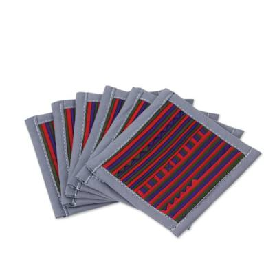 Colorful Cotton Coasters in Thai Hill Tribe Style (Set of 6)