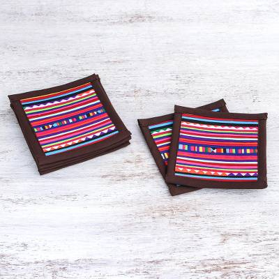 Cotton coasters, 'Lahu Dark Brown' (set of 6) - Hand Crafted Brown Cotton Patchwork Coasters (Set of 6)