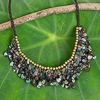 Agate beaded necklace, 'Party' - Handmade Agate Beaded Necklace with Brass Beads