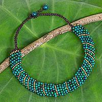 Beaded choker, 'Sweet Thai Smile' - Beaded Serpentine Choker with Brass in Turquoise Tones