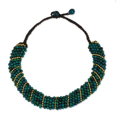 Beaded Serpentine Choker with Brass in Turquoise Tones