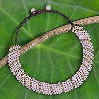 Beaded choker, 'Pink Thai Smile' - Beaded Pink Quartz and Brass Handmade Thai Necklace