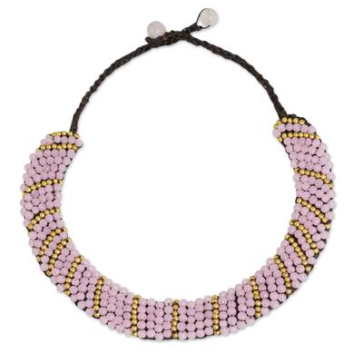 Beaded Pink Quartz and Brass Handmade Thai Necklace