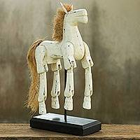Wood sculpture, 'White Horse' - Horse Wood Sculpture Artisan Crafted with Antique Look