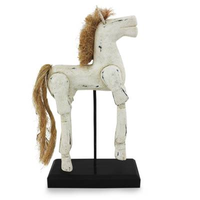 Horse Wood Sculpture Artisan Crafted with Antique Look