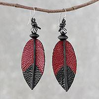 Leather and bone dangle earrings, 'Red Feather' - Leather and Bone Feather Earrings in Red from Thailand