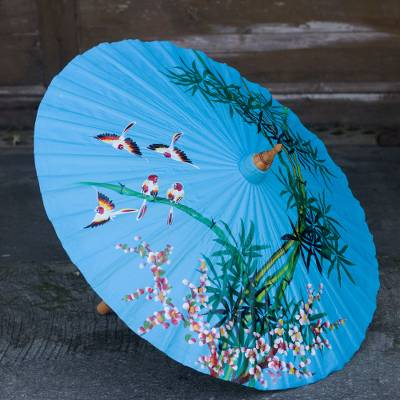 Cotton and bamboo parasol, 'Tropical Bamboo' - Hand Painted Blue Cotton and Bamboo Thai Parasol