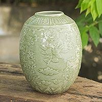 Celadon ceramic vase, 'Green Plum Blossom' - Green Floral Handcrafted Celadon Ceramic Vase from Thailand