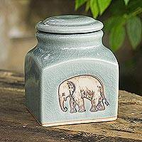 Celadon ceramic jar, 'Happy Elephant' - Thai Light Blue Celadon Ceramic Handcrafted Jar and Lid
