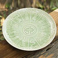 Celadon ceramic plate, 'Jade Constellation' - Celadon Ceramic Plate with Chinese Horoscope