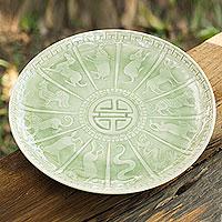 Celadon ceramic plate, 'Jade Constellation'