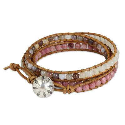 Rhodonite and agate wrap bracelet, 'Karen Rose' - Karen Hill Tribe Handcrafted Gemstone Wrap Bracelet