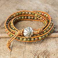 Unakite wrap bracelet, 'Karen Meadow' - Unakite Wrap Bracelet with Karen Hill Tribe Silver
