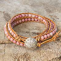 Rhodonite wrap bracelet, 'Pink Hydrangea' - Pink Rhodonite and Karen Hill Tribe Silver Wrap Bracelet