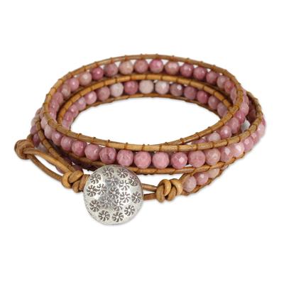 Rhodonite wrap bracelet, 'Pink Hydrangea' - Pink Rhodonite and Karen Hill Tribe Silver Wrap Bracelet