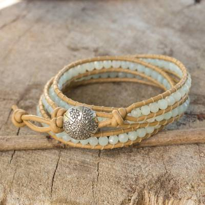 Amazonite wrap bracelet, 'Blue Hydrangea' - Blue Amazonite and Karen Hill Tribe Silver Wrap Bracelet