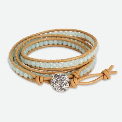 Blue Amazonite and Karen Hill Tribe Silver Wrap Bracelet