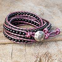 Onyx wrap bracelet, 'Black Orchid Romance' - Onyx and Leather Wrap Bracelet with Karen Hill Tribe Silver