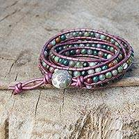 Jasper wrap bracelet, 'Orchid Romance' - Wrap Bracelet with colourful Jasper and Hill Tribe Silver