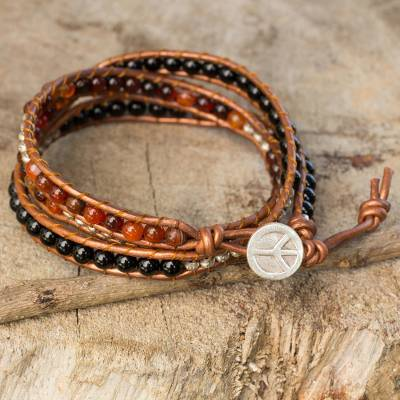 Onyx and carnelian wrap bracelet, 'Hill Tribe Peace' - Onyx and Carnelian Wrap Bracelet with Hill Tribe Silver