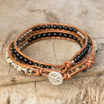 Onyx and jasper wrap bracelet, 'Hill Tribe Peace' - Onyx and Jasper Wrap Bracelet with Hill Tribe Silver