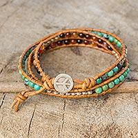 Carnelian wrap bracelet, 'Hill Tribe Peace' - Carnelian and Reconstituted Turquoise Wrap Bracelet