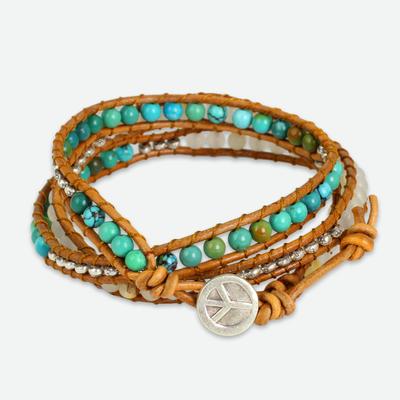 Quartz wrap bracelet, 'For Peace' - Quartz and Reconstituted Turquoise Leather Wrap Bracelet