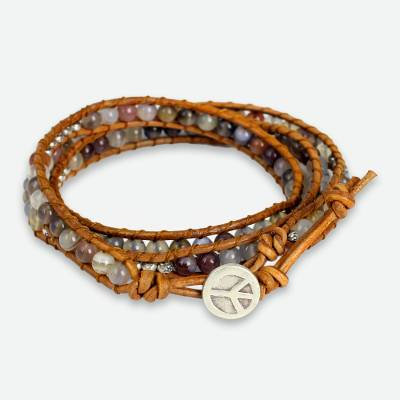 Agate wrap bracelet, 'For Peace' - Agate and Leather Wrap Bracelet with Hill Tribe Silver
