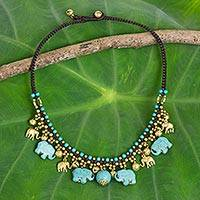 Waterfall necklace, 'Blue Elephant Charm'