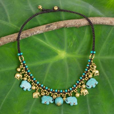 Waterfall necklace, 'Blue Elephant Charm' - Hand Crafted Necklace with Brass and Blue Calcite Elephants