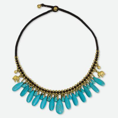 Thai Handmade Necklace with Blue Calcite and Brass Elephants