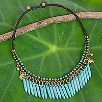 Beaded waterfall necklace, 'Elephant Dreams' - Hand Crafted Necklace with Blue Calcite and Brass Elephants