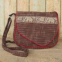 Cotton messenger bag, 'Elephant Journey in Brown'