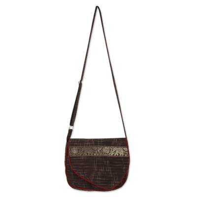 Novica Cotton shoulder bag, Afternoon Parade of Elephants