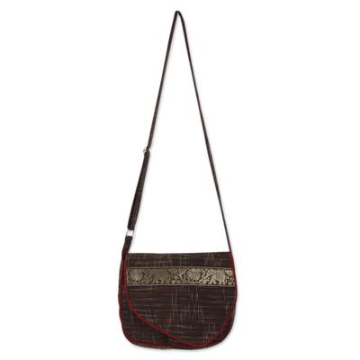 Cotton messenger bag, 'Elephant Journey in Brown' - Thai Elephant Theme Adjustable Strap Cotton Shoulder Bag