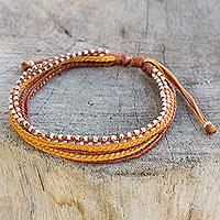 Silver beaded wristband bracelet,
