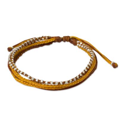 Silver Beads on Hand Braided Wristband Bracelet