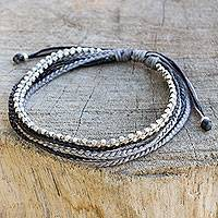 Silver beaded wristband bracelet, 'Misty Grey' - Silver Beads on Hand Braided Wristband Bracelet