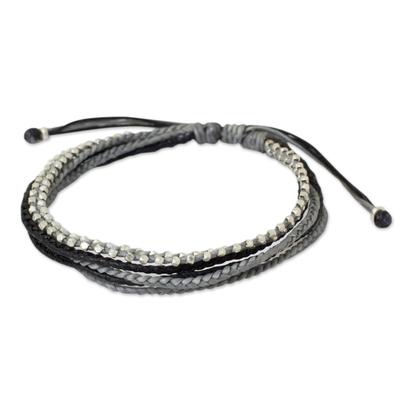 Silver beaded wristband bracelet, 'Misty Grey' - Silver Beads on Hand Braided Wristband Bracelet