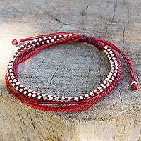 Silver beaded wristband bracelet, 'Fiery Red' - Artisan Crafted Silver Braided Red Wristband Bracelet