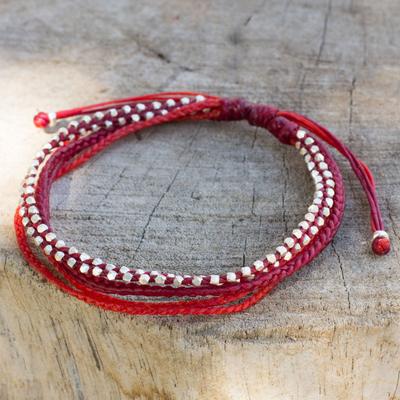Silver beaded wristband bracelet, 'Fiery Red' - Artisan Crafted Silver Braided Red Wristband Bracelet