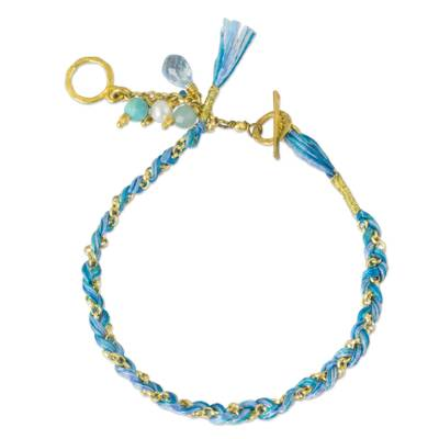 Gold plated multi-gemstone braided bracelet, 'Blue is for Peace' - Blue Theme Gold Plated Cotton Bracelet and Multi Gem Charms