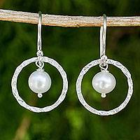 Cultured pearl dangle earrings, 'Twin Moons' - White Pearls Earrings Crafted with Hammered Sterling Silver