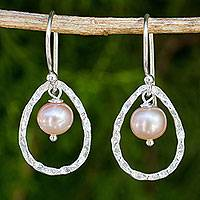 Cultured pearl dangle earrings, 'Pink Moons'