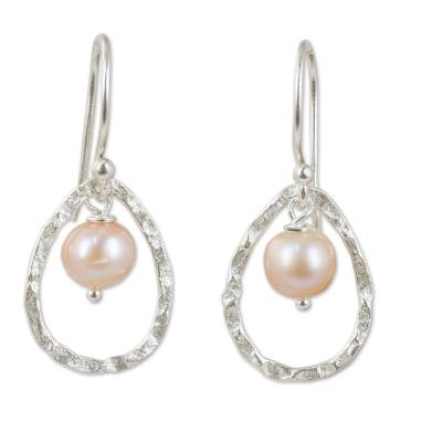 Cultured pearl dangle earrings, 'Pink Moons' - Pink Pearls in Hand Crafted Thai Sterling Silver Earrings